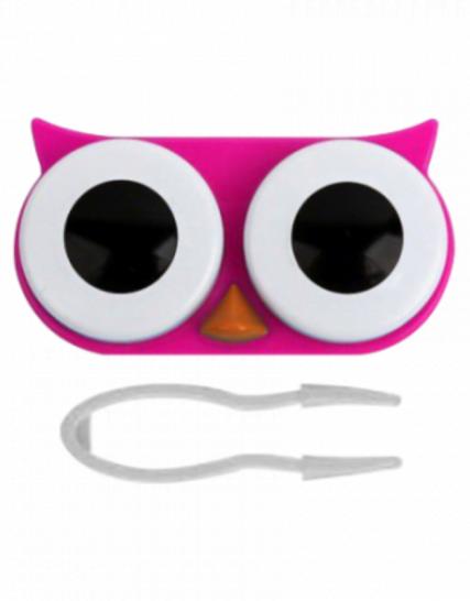 baykuş şeklinde pembe lens kabı