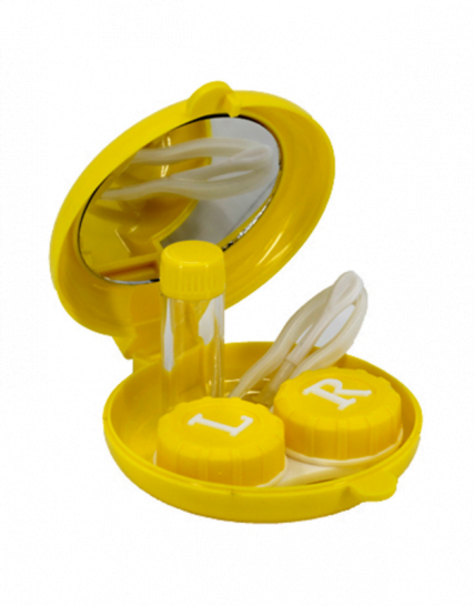 balık şeklinde sarı lens kabı içi - sarı