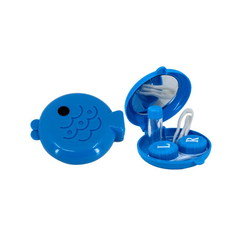 balık şeklinde mavi lens kabı ve içi - mavi