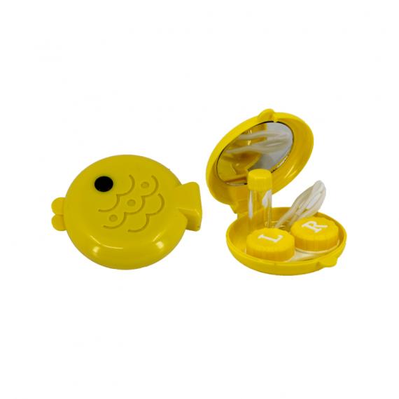 balık şeklinde sarı lens kabı ve içi - sarı
